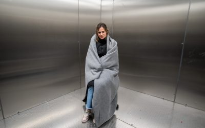 Camilla Thurlow inside the UCL Climate Chamber to experience subzero temperatures and trial UNHCR's winter emergency relief items including a thermal coat and blanket. The visit is in support of the UNHCR Below Zero emergency appeal to support Syrian Refugees. UNHCR, the UN Refugee Agency, is calling for public support to help it distribute emergency winter relief to displaced families across the Middle East. HereEast, London, 20 January 2020.